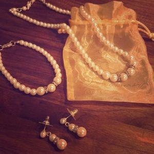 3 piece pearl jewelry set
